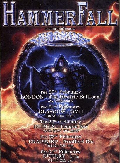 Hammerfall UK Concert Poster