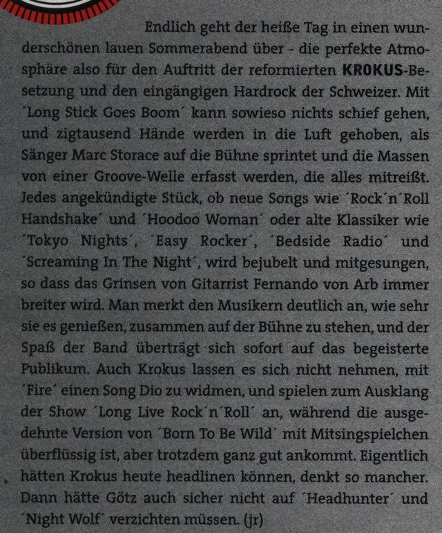 'Rock Hard' Magazine Concert Review