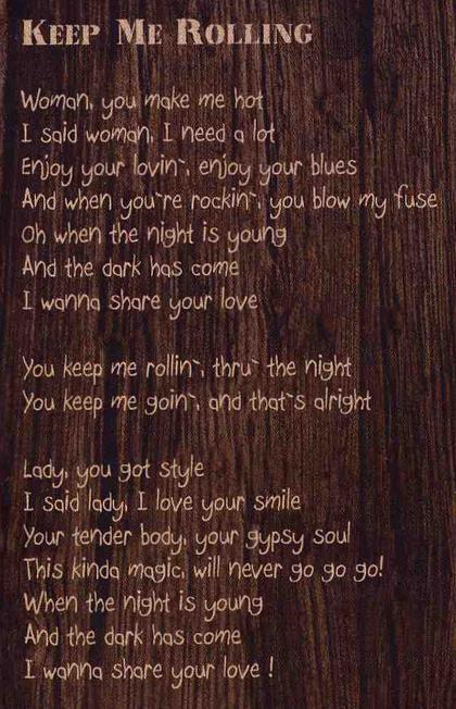 Keep Me Rolling Lyrics